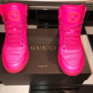 GUCCI - Neon Pink High Top sneakers - Size 6